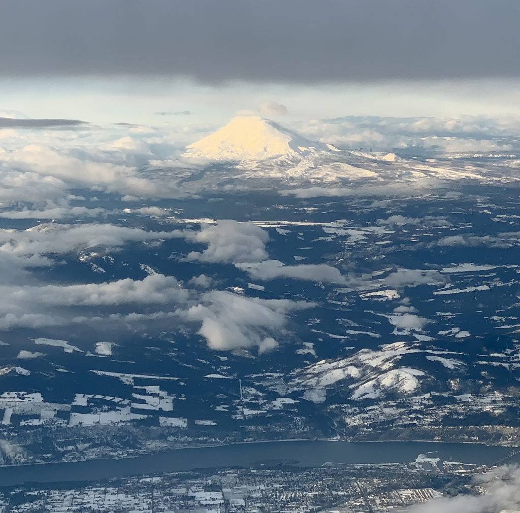 Mt Hood from Airplane
